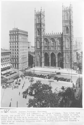 Canada. Quebec Province, Montreal. History and Modernity on Place d' Armes. Here Notre Dame Church, 100 years old, and the Seminary of St. Sulpice, built in 1685, stand side by side with banks and office buildings overlooking the spot where Paul Chomedy de Maisonneuve, founder of Montreal, with his own hand slew an invading Iroquois chief. A statue commemorates Chomedy's Heroic deed / CN245