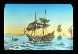 [Fur trade illustration - sailing ships]