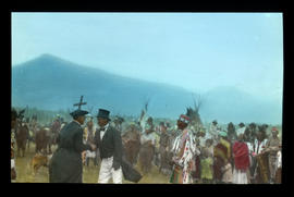 [Historical re-enactment at Lake Windermere with priests and First Nations]