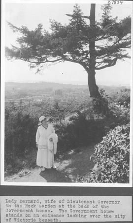 Lady Barnard, wife of Lieutenant Governor in the Rock Garden at the back of the Government house....