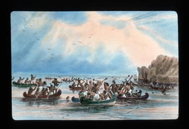 [Illustration - First Nations battle in canoes]