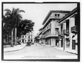 Cathedral Plaza and 5th Street, showing Hotel Central, Panama.
