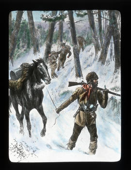 [Mountain man leading horse - illustration]