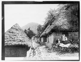 Native Huts in the Village of Taboga, Taboga Island, Rep. [Republic] of Panama.  Chozas nativas en el pueblo de Taboga, Isla de Taboga, Rep. de Panama.