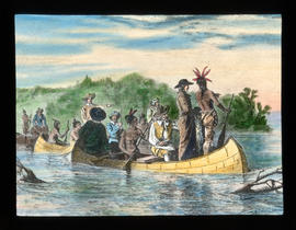 [Fur trade illustration - explorers in canoe with First Nations]