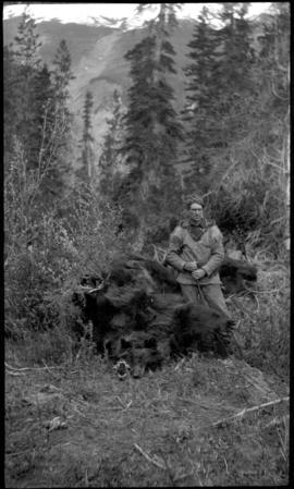 Elliott Barnes with bear skins