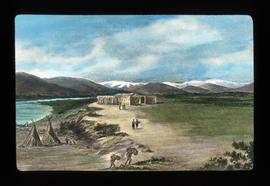 [Fur trade illustration - First Nations camp near fur post]