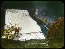 [Sid Unwin with burnt tent]