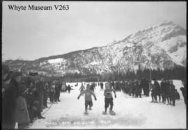 Banff Winter Carnival, finish, boy's snowshoe race