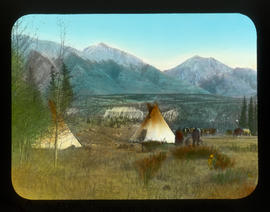 """Two tepees [teepees] nestled among the trees"""