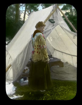 [Mary Schaffer in front of tent]