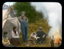 One of Our Summer Homes [Molly Adams, Mary Schaffer, William Warren and Joe Barker in camp]