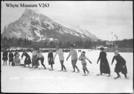 Banff Winter Carnival, start of ladies snowshoe race