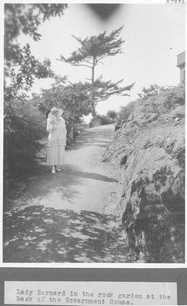 Lady Barnard in the rock garden at the back of the Government House / 27835
