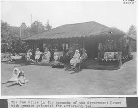 The Tea House in the grounds of the Government House with guests gathered for afternoon tea / 28010