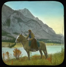 [Mary Schaffer on horseback, Kootenay Plains]
