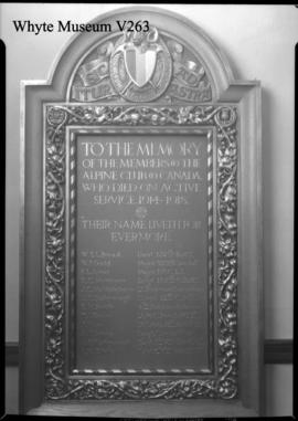 Alpine club house memorial tablet
