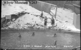 Bathing at Cave & Basin in winter