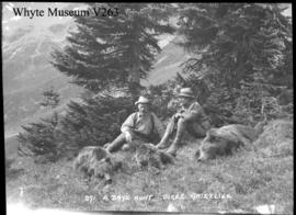 A day's hunt, 3 grizzlies. A.O. Wheeler & T.G. Longstaff, Wheeler's Bugaboo Expedition