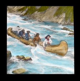 [Illustration of fur trade canoe in rapids]