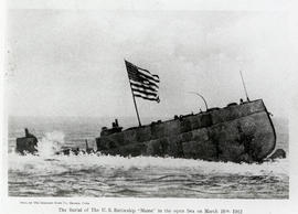"The Burial of the U. S. Battleship ""Maine"" in the open sea."