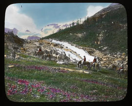 [Group of trail riders in {Yoho Valley?)]